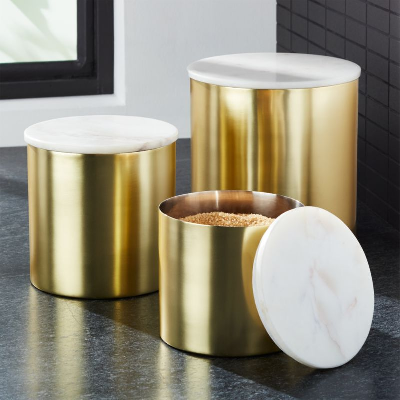 Thompson Gold Marble Canisters Crate And Barrel