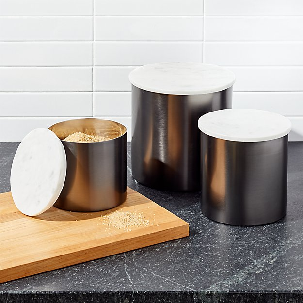 Thompson Graphite Marble Canisters Crate And Barrel