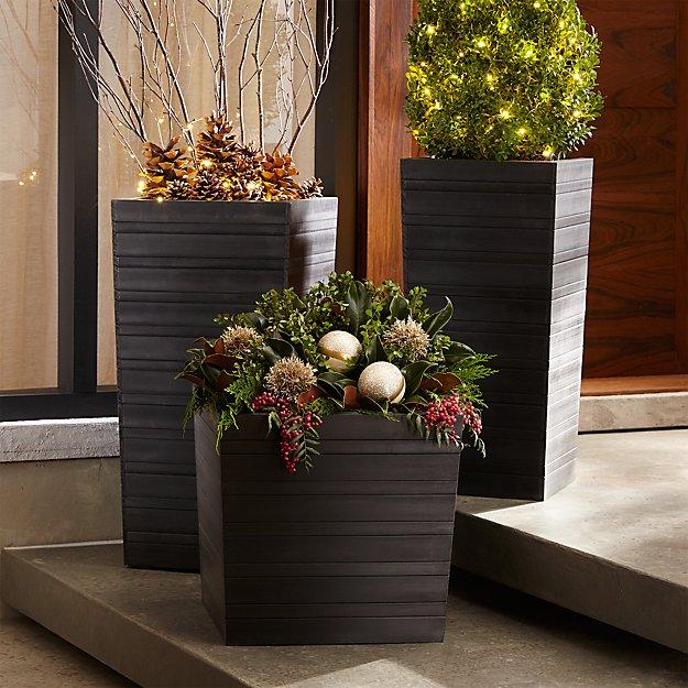 tidore square plastic planters crate and barrel. Black Bedroom Furniture Sets. Home Design Ideas