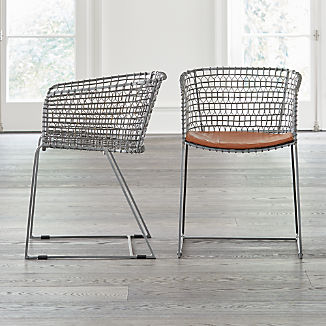 552718663bfd Tig Metal Barrel Dining Chair with Cushion
