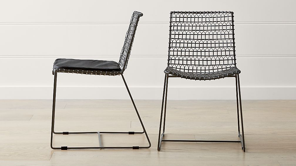 81270516 Tig Metal Dining Chair and Cushion | Crate and Barrel