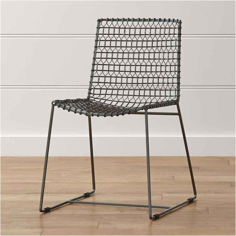Rustic Metal Dining Chairs tig metal dining chair | crate and barrel