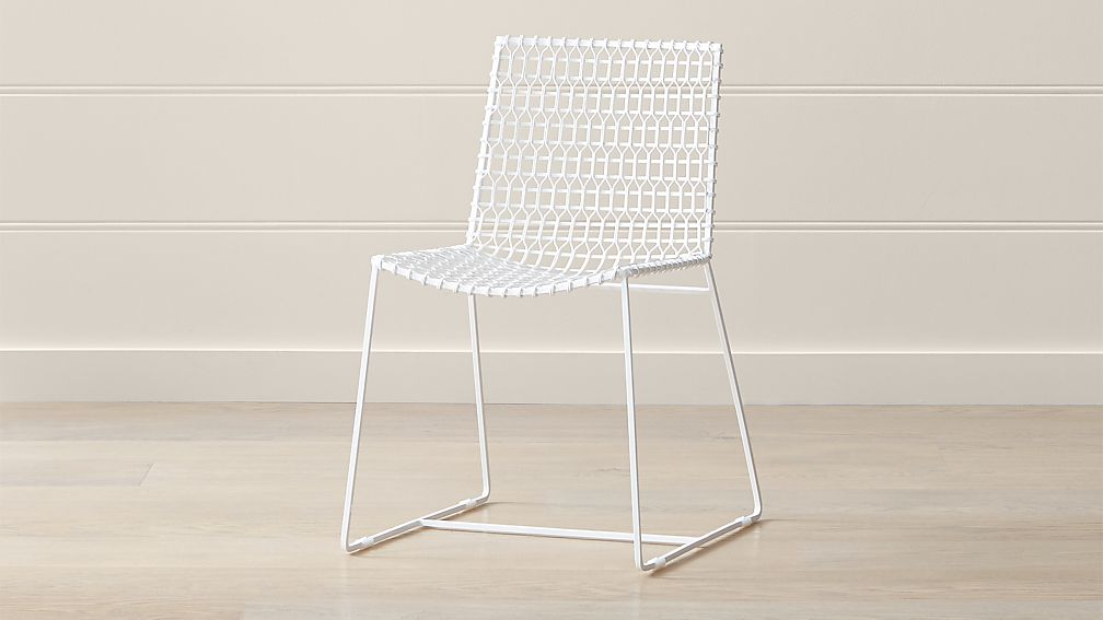Tig IndoorOutdoor White Metal Dining Chair Reviews Crate And Barrel - White metal outdoor dining table