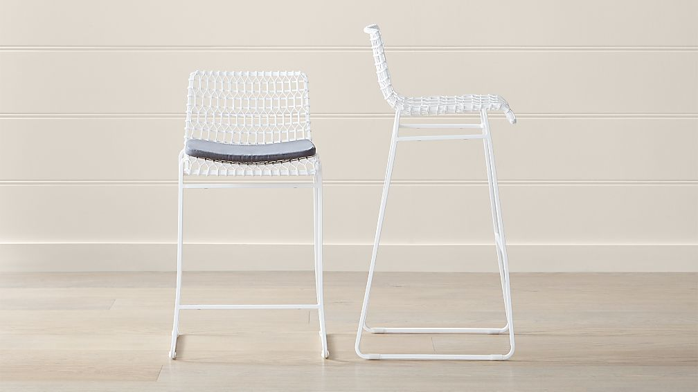 Tig Indoor/Outdoor White Metal Bar Stools - Image 1 of 8