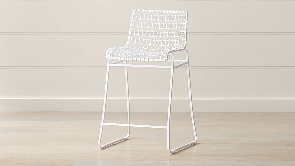 Tig Indoor Outdoor White Metal Counter Stool Reviews Crate And Barrel