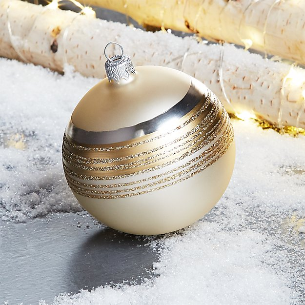 Tinsel Champagne Ball Ornament