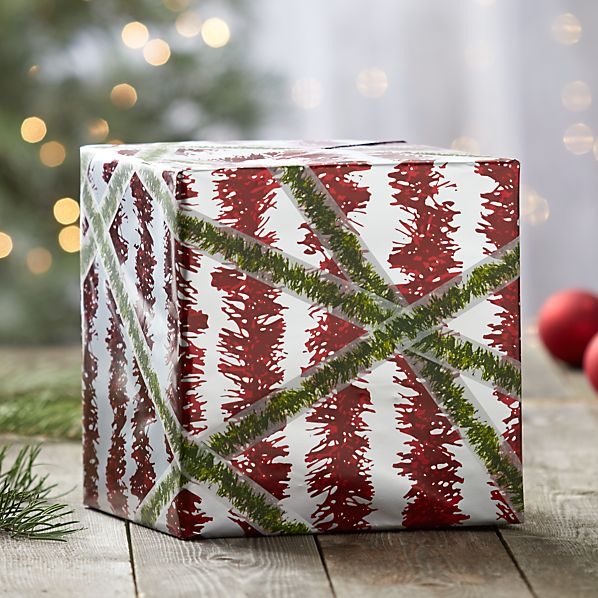 Tinsel Red and Silver Garland Gift Wrap