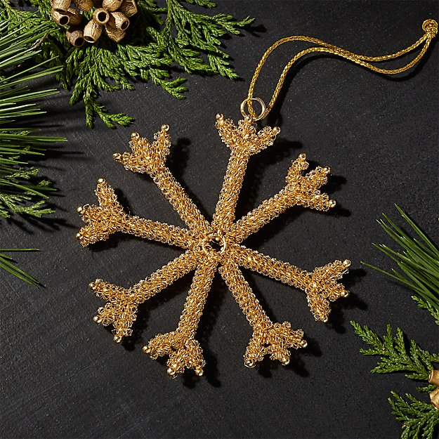 Tinsel Gold Snowflake Ornament