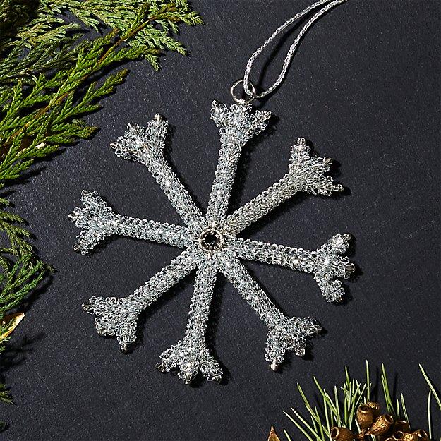 Tinsel Silver Snowflake Ornament