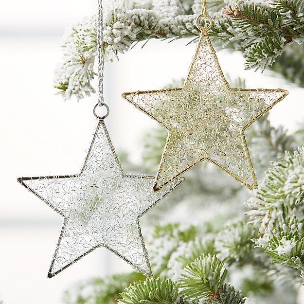 tinsel star ornaments crate and barrel