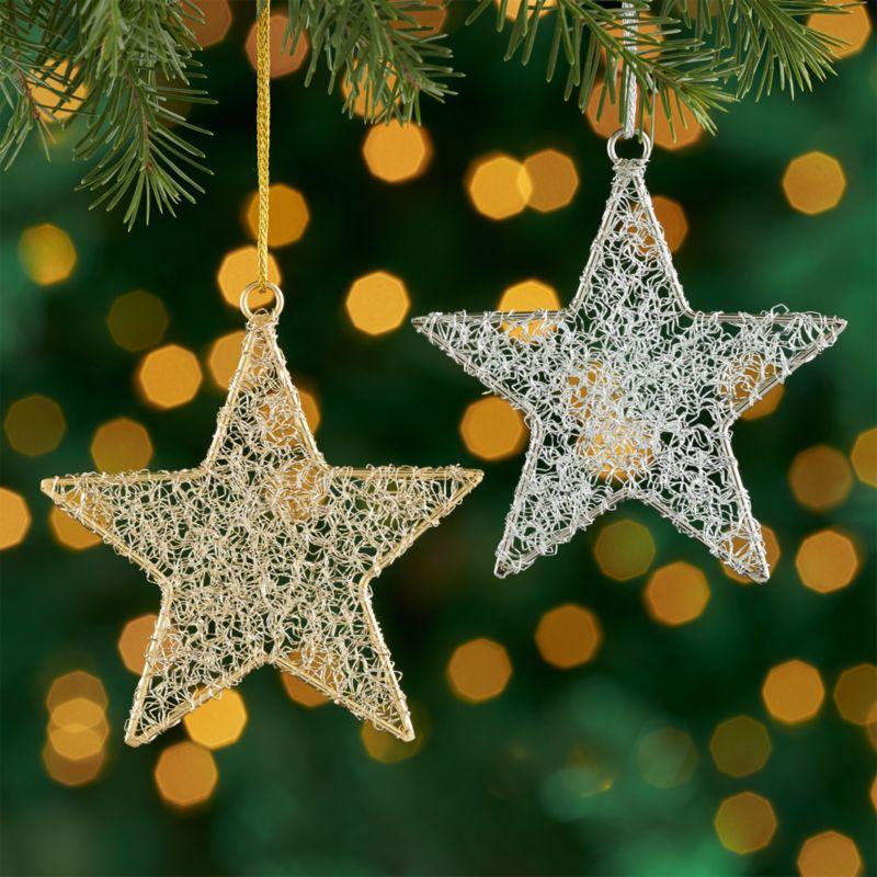 tinsel star ornaments - Christmas Tree Ornaments