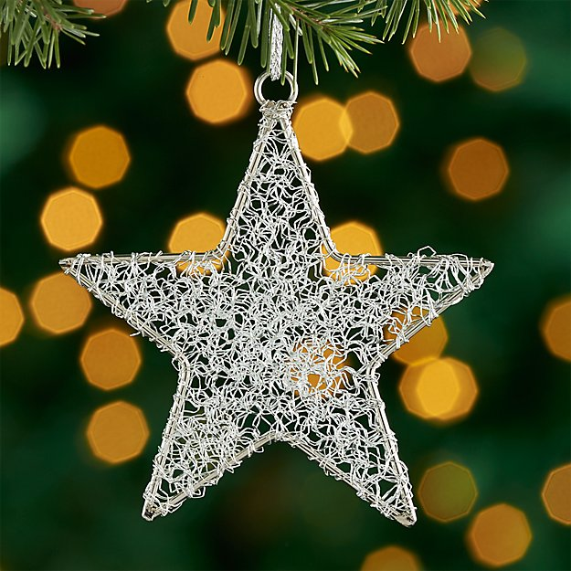 Silver Tinsel Star Ornament