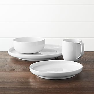 Toben 4-Piece Place Setting & White Dinnerware | Crate and Barrel