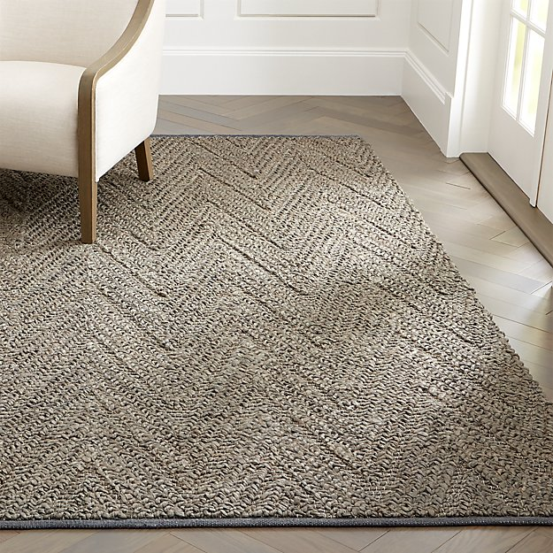 Toler Grey Chevron Jute Rug - Image 1 of 5