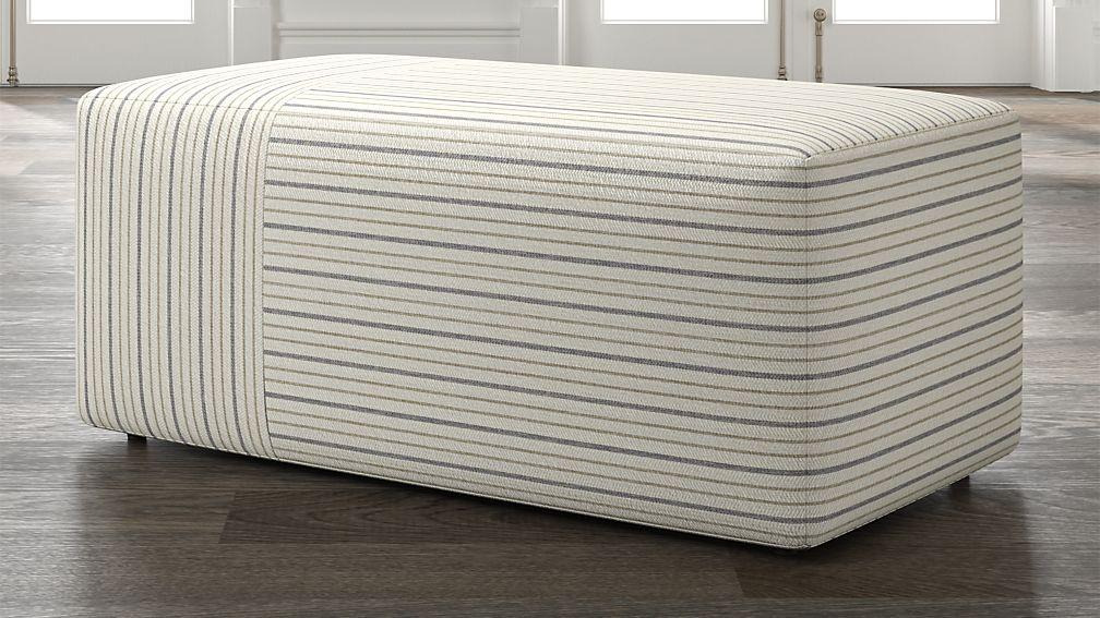 Tommi Rectangular Striped Ottoman - Image 1 of 5