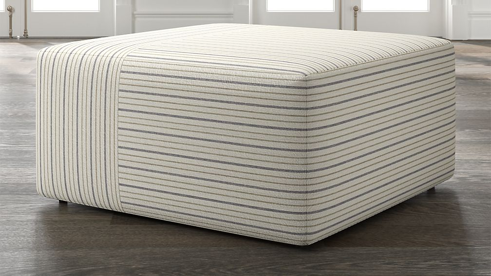 Tommi Square Striped Ottoman - Image 1 of 5