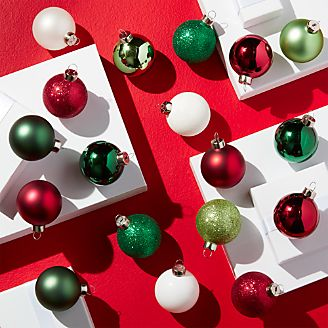 tonal redgreen medium ball ornaments set of 18 - Red And Green Christmas Decorations