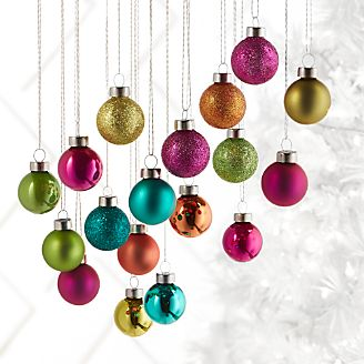tonal multicolored small ball ornaments set of 18 - Christmas Decoration Sets
