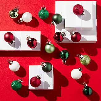 Tonal Red Green Small Ball Ornaments Set Of 18