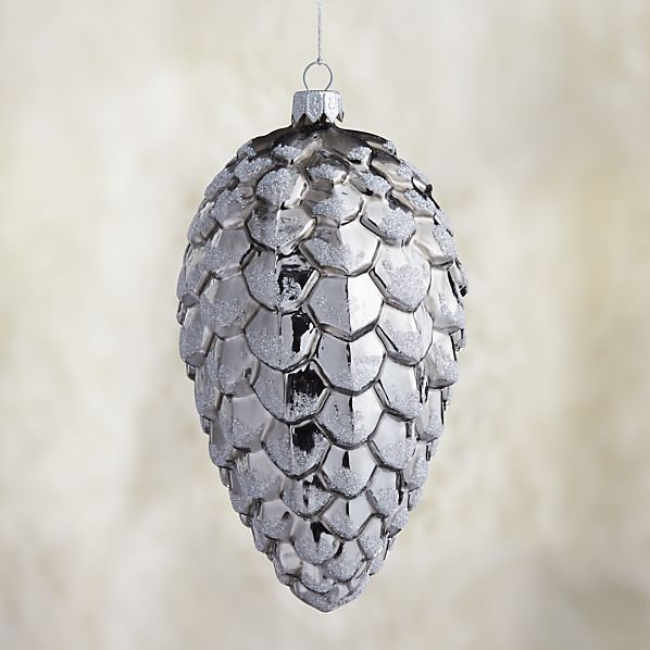 Small Graphite Shiny Glitter Glass Pinecone Ornament