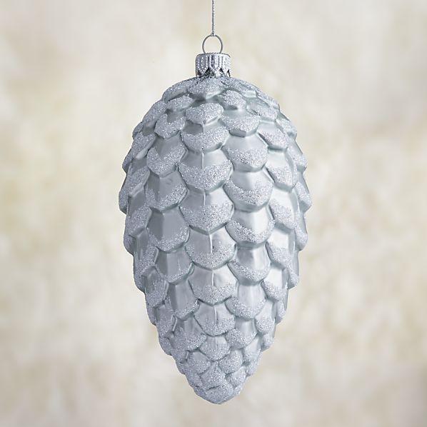 Small Matte Silver Glitter Glass Pinecone Ornament