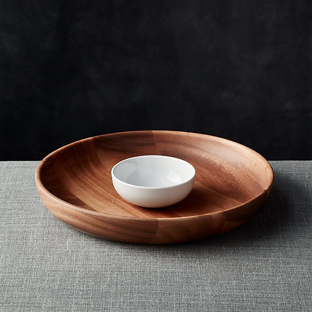 Tondo Wooden Chip And Dip Bowl Reviews Crate And Barrel