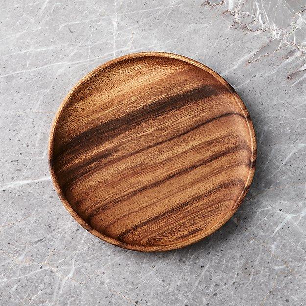 Tondo 9 Quot Acacia Wood Plate Reviews Crate And Barrel
