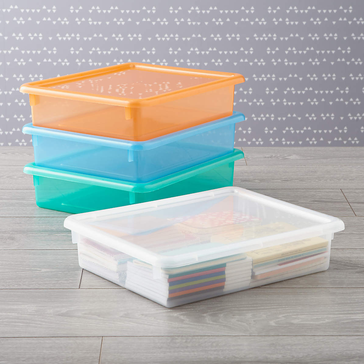 Kids Storage Containers Kids Colorful See Through Stackable Box Crate And Barrel
