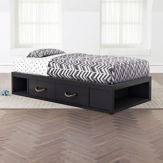 Kids Storage Bed For Topside Dark Blue Storage Bed Kids Kids Beds Headboards And Bunk Beds Crate Barrel