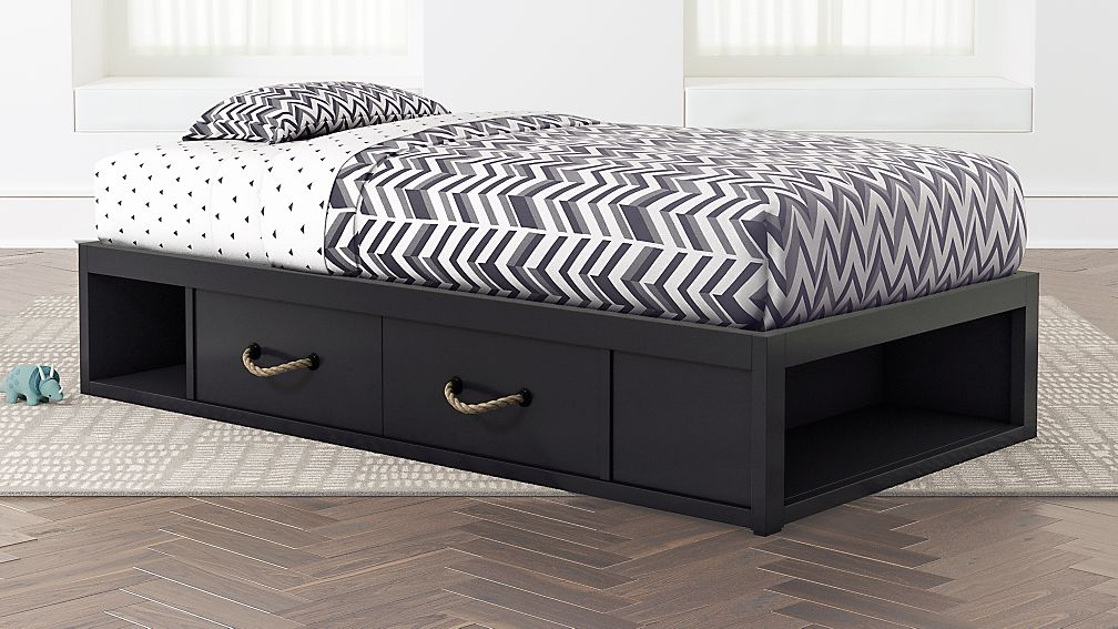 Twin Storage Bed With Topside Storage Kids Bed navy Crate And Barrel