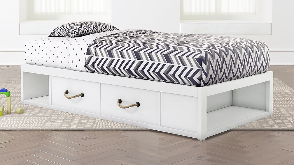 Twin Bed With Storage.Topside White Twin Storage Bed