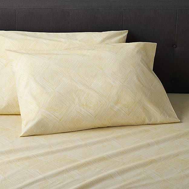 Set of 2 Torben Yellow Standard Pillow Cases Crate and Barrel