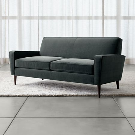 Torino Blue Velvet Modern Apartment Sofa + Reviews | Crate and Barrel
