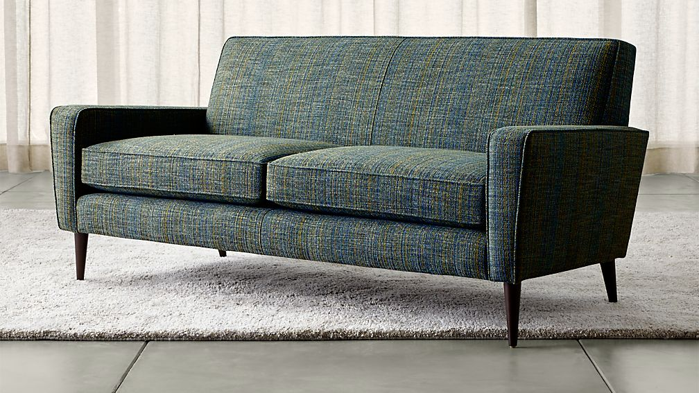 Torino Blue Modern Apartment Sofa | Crate and Barrel