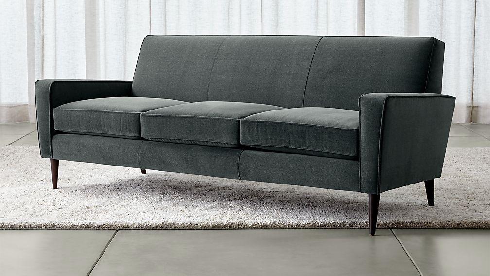 Torino Blue Velvet Modern Sofa Reviews Crate And Barrel