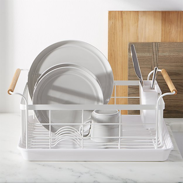 Tosca White Dish Rack With Wood Handles Crate And Barrel