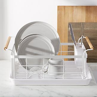 Tosca White Dish Rack with Wood Handles