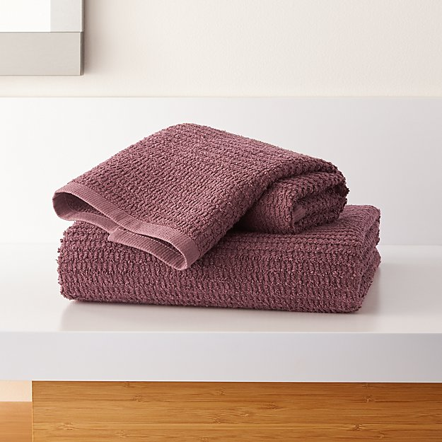 Travia Dark Lilac Textured Bath Towels - Image 1 of 3
