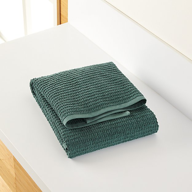Travia Forest Green Textured Bath Towel - Image 1 of 9