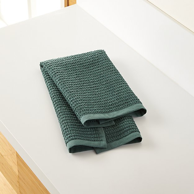 Travia Forest Green Textured Hand Towel - Image 1 of 9