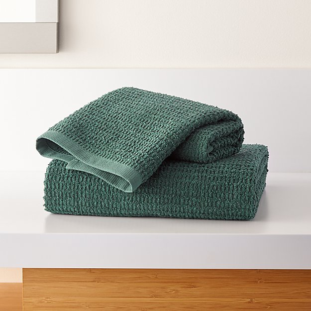 Travia Forest Green Textured Bath Towels - Image 1 of 4
