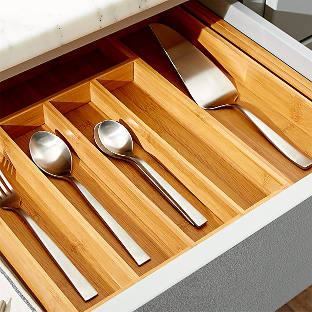 Expandable Bamboo Flatware Tray - Image 1 of 4
