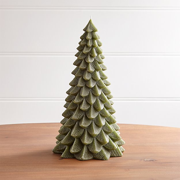 "13"" Green Pine Tree Candle - Image 1 of 11"