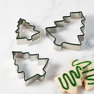 Tree-Shaped Green Cookie Cutters, Set of 3