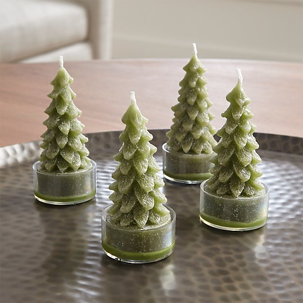 Green Tree Candles, Set of 4 - Image 1 of 7