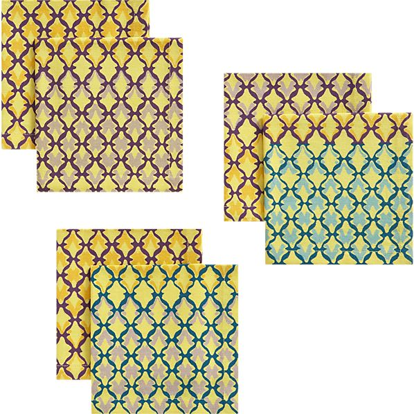 Set of 6 Trellis Yellow Cocktail Napkins