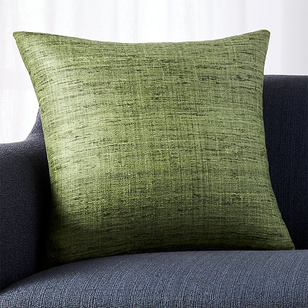 Green Textured Pillow with Feather-Down Insert Crate and Barrel