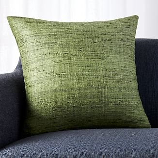 "Trevino Bronze Green 20"" Pillow with Feather-Down Insert"