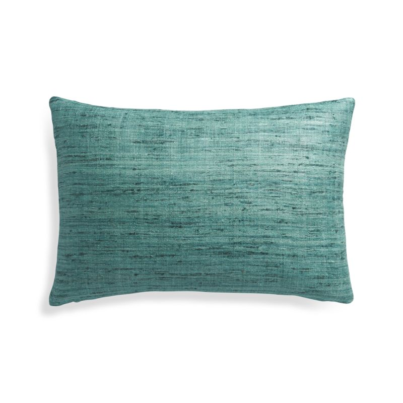 Crate And Barrel Decorative Pillow Covers : Teal Silk Lumbar Pillow Cover in Decorative Pillows + Reviews Crate and Barrel
