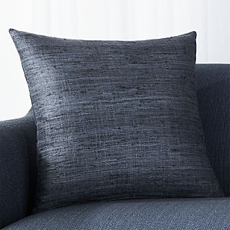 """Trevino Graphite 20"""" Pillow with Feather-Down Insert"""